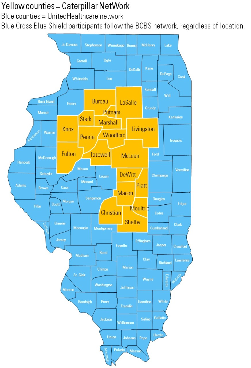 Illinois counties in the Caterpillar PPO NetWork